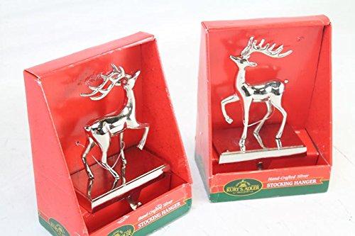 Metal Silver Reindeer Stocking Holder Set Of 2 (Silver Hanger Stocking)