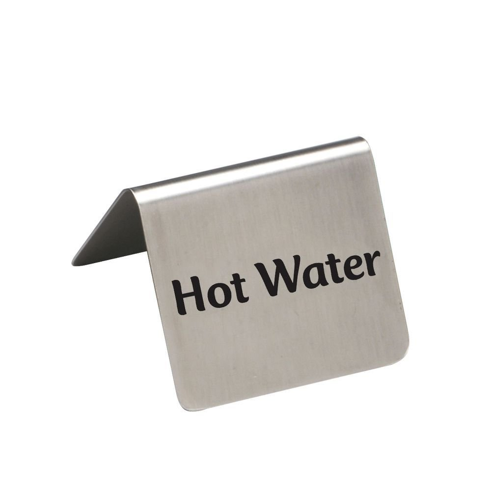 HUBERT Hot Water Beverage Tent Sign Stainless Steel - 2 1/2'' W x 2'' D x 2 3/16'' H