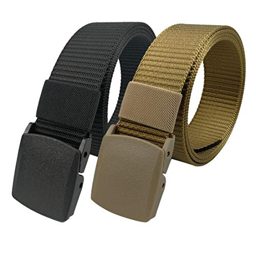 LARRONKETY Nylon Web Belts Military Tactical Men Waist Belt with Plastic Buckle(solid khaki+black)