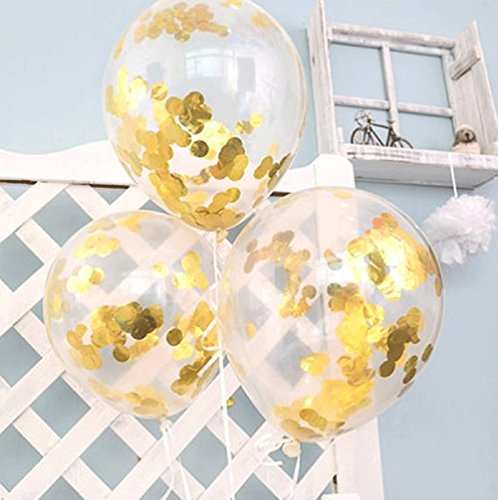 FindFun 12'' Clear Balloons Prefilled with 2.5cm Gold Confetti for Wedding Birthday Grad Party Decorations (Pack of 12)