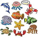 Haulonda Nonslip Bathtub and Shower Stickers,Sea Creature Decal Treads,Safety Adhesive Anti-Slip Appliques for Kids Bath Tub Shower Surfaces(10pcs)