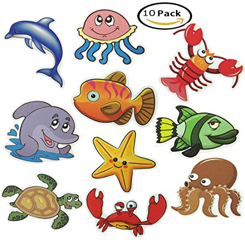 Haulonda Nonslip Bathtub and Shower Stickers,Sea Creature Decal Treads,Safety Adhesive Anti-Slip Appliques for Kids Bath Tub Shower Surfaces(10pcs) by Haulonda
