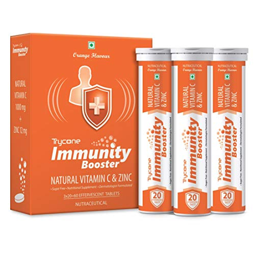 Trycone Immunity Booster – Natural Vitamin C 1000 mg with Zinc 12 mg – Antioxidant & Skin care- 60 Effervescent Tablets…