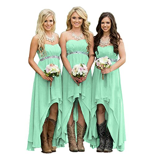 Fanciest Women' Strapless High Low Bridesmaid Dresses Wedding Party Gowns Mint -