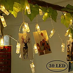 Ohbingo 30 Leds Photo Clips Dorm Room Christmas Lights, Decorations Lights for Bedroom, USB Powered, 12 Ft, Warm White - Ideal College Gifts