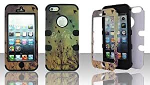 Apple iPhone 5 & 5S BE FREE Flying Birds Tree Sky Black Gel Hybrid Snap-On Case Cover Defender Protector by icecream design