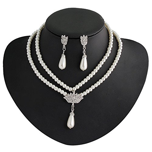 [Girl Era Elegant Vintage Simulated Pearl Crystal Victorian Style Necklace & Earrings Sets] (Victorian Era Womens Costumes)