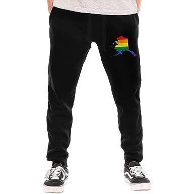 O-My Alaska Rainbow Flag Pantalones de chándal para Hombre ...