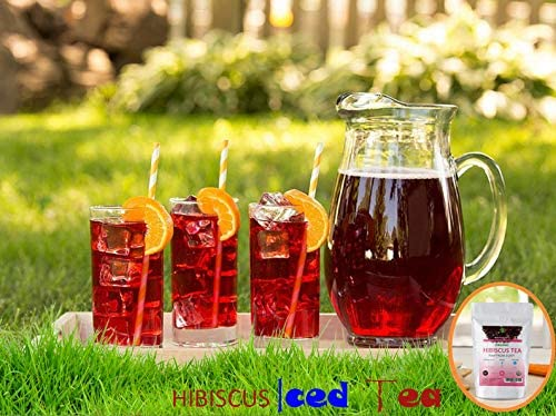 Dualspices Hibiscus Flowers WHOLE PETALS - 100% CERTIFIED Organic Hibiscus Flowers Tea 1 Pound, Helps Lower Blood Pressure, Makes Iced Tea Caffeine Free