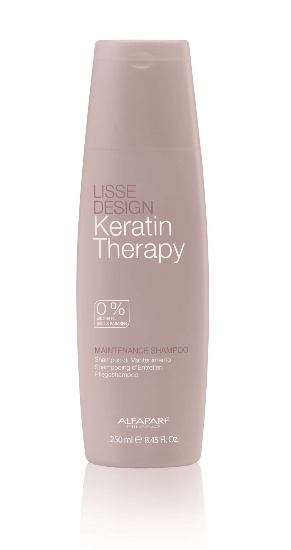 Alfaparf Milano Keratin Therapy Lisse Design Maintenance Shampoo - Sulfate Free - Maintains and Enhances Keratin Treatments - Professional Salon Quality - 8.45 Fl Oz