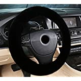 Zento Deals Soft Stretchable Sheepskin Black Steering Wheel Cover Protector - A Must Have for All Car Owners for a More Comfortable Driving