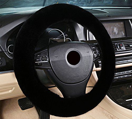 Zento Deals Soft Stretchable Sheepskin Black Steering Wheel Cover Protector - A Must Have for All Car Owners for a More Comfortable - Cover More Sim