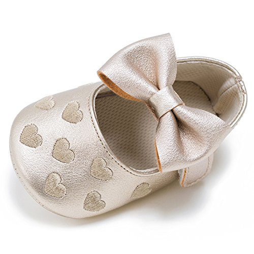 YIRUIYA Baby Girls Bowknot PU Leather Soft Soled Prewalker Toddlers Shoes Gold (Footwear Soft Gold Leather)
