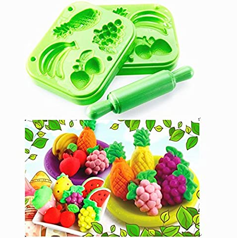 TECH-P Creative Life 3D Play Dough Clay Modeling Tools for Kids-Fruit Set