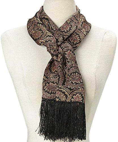 Women 100% Silk Fringe Vintage Scarf (Black & Brown Paisley)