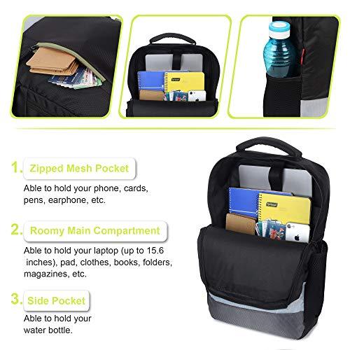 Wooum 15.6 inch Laptop Bag Backpack for Men Casual Backpack Student Bag School Bag College Backpack Office Bag Business backUnisex Travel Backpack (Black-GreenZip)