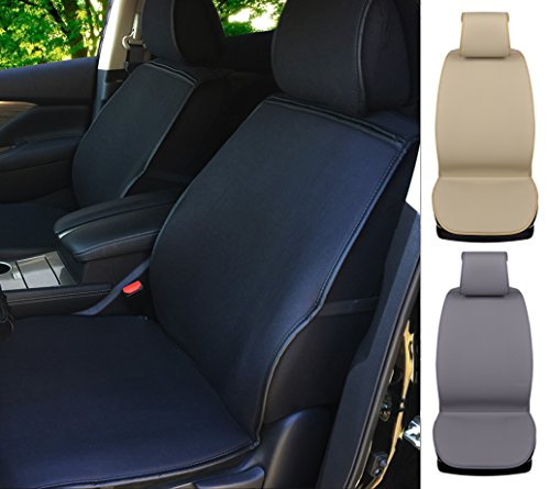 180501 Black Semi Custom 2 Front Car Seat Covers, for Car, Truck, SUV or Van, Breathable Poly Cotton & 1.5cm Cushion Pad, Non-slip, Air Bag & Side Armrest Compatible to Toyota Tacoma 2018 2017-2007
