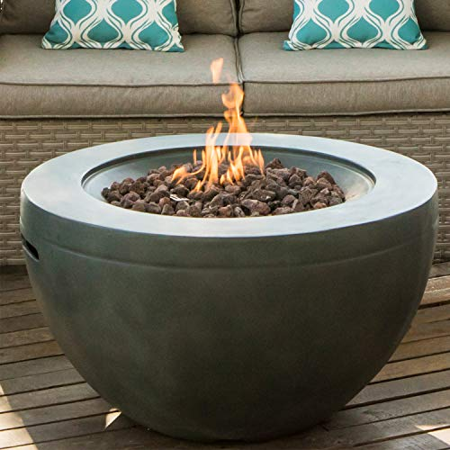 COSIEST Outdoor Propane Half-Sphere Fire Bowl Pit, Gray Hardrock 30-inch Round Graphite 40,000 BTU Stainless Steel Burner,Free Lava Rocks, Waterproof Cover (Patio Garden Sun Heater Stainless Propane Steel Tabletop)