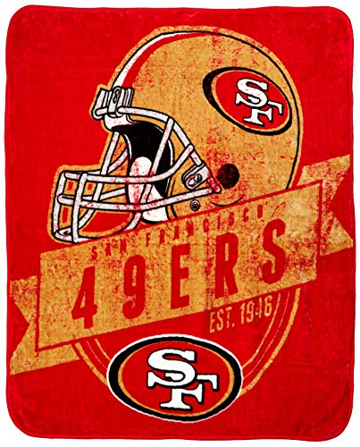 The Northwest Company Officially Licensed NFL San Francisco 49ers Grand Stand Plush Raschel Throw Blanket, 50