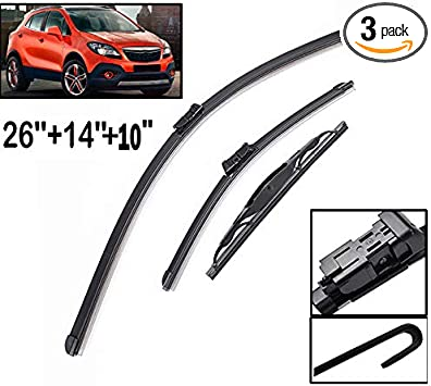 Amazon Com Xukey Front Rear Windshield Wiper Blades Set Fit For Opel Mokka Buick Encore Chevrolet Trax 2012 2017 Holden Trax 2013 2017 Set Of 3 Automotive