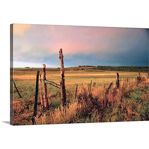 Premium Thick-Wrap Canvas Wall Art Print Entitled Abandoned farmland - Canvas Fence
