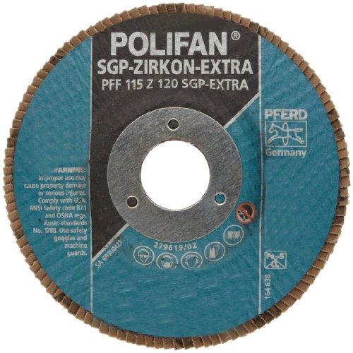 PFERD Polifan SGP Zirkon-Extra Abrasive Flap Disc, Type 27, Round Hole, Phenolic Resin Backing, Zirconia Alumina, 4-1/2 Dia., 120 Grit (Pack of 1)