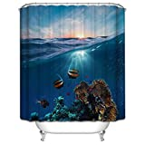 KANATSIU Clown Fish in The Sea. Shower Curtain,with 12 Plactic Hooks,100% Made of Polyester,Mildew Resistant & Machine Washable,Width x Height is 60x72