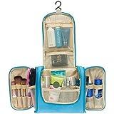 Aedo Beauty Case Viaggio Donna Borsa da Toilette Appendibile con Gancio Borsetta da Viaggio Impermeabile Borsa per Cosmetici (Blue)