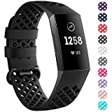 NANW Compatible Fitbit Charge 3 Bands, Silicone Wristband Air Holes Breathable Sport B