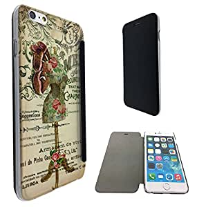 535 - Vintage Shabby Chic Victorian Floral Roses mannequin Design iphone 6 Plus / iphone 6 Plus S 5.5'' Fashion Trend Funky Smart Clear Plastic & TPU Flip Case Full Cover Purse Pouch Defender Book Case