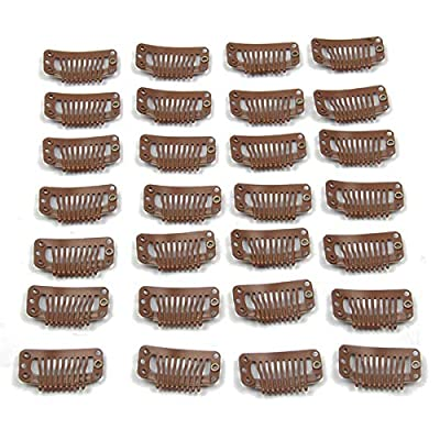 20pcs Metal Snap Clips for Hair Extensions DIY Clip in on Hair Wigs 9 Teeth 32mm 1.2g/pc Black Brown Beige Color