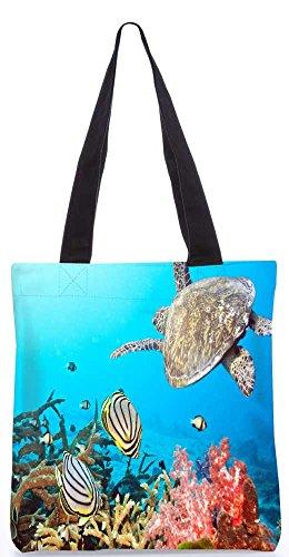 """Snoogg Schildkröte Tragetasche 13,5 X 15 In """"Einkaufstasche Dienstprogramm Trage Von Polyester Canvas"""