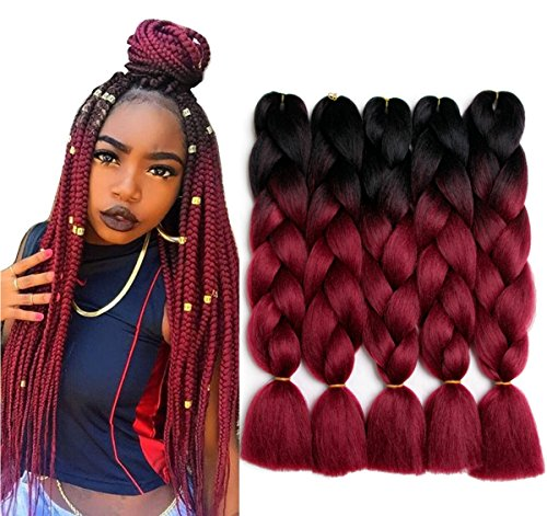 Twist Red Wine - 24 inch 5pcs/lot Ombre Braiding Hair Synthetic Braiding Hair Two Tone Ombre Jumbo Braids Hair Extensions Black-Wine Red