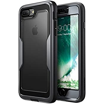 i-Blason iPhone 8 Plus Case, [Heavy Duty Protection] [Magma Series] Shock Reduction / Full body Bumper Case with Built-in Screen Protector for iPhone 7 Plus 2016 / iPhone 8 Plus 2017 (Black)