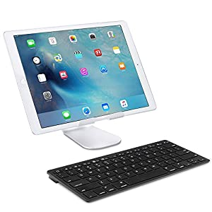 OMOTON Ultra-Slim Bluetooth Keyboard for Apple New iPad 9.7 2017, iPad Pro 9.7/12.9, Pad Air 2/Air, iPad Mini 4/3/2/1, iPad 4/ 3/ 2, all iPhones and other Bluetooth Enabled Devices, For Apple, Black