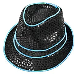 Blue Light Up With Black Sequin Fedoras Hat