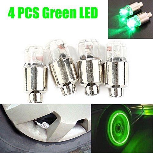 FidgetFidget Tire Air Valve Stem Cap 4x Universal Green LED Wheel Tyre Light Lamp Bulb