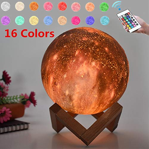 TOYECOTA - Rechargeable 3D Print Moon Lamp USB LED Night Light Moonlight Touchs Sensor Lamp 16 Colors Change Table Lamps Bedroom Home Decor]()