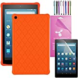 2016 Amazon Fire HD 8 Case Silicone, EpicGadget(TM) Slim Anti-Slip Soft Rubber Silicone Gel Case Cover For (6th Generation)Fire HD 8, 8 HD Display Tablet +Fire HD 8 Clear Screen Protector (Tangerine)