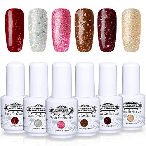 - Perfect Summer Gel Nail Polish Set - 6 Glitter Colors UV Gel Nail Varnish Soak Off UV LED Manicure Nail Starter Kit Women Gift Set 8ML 086