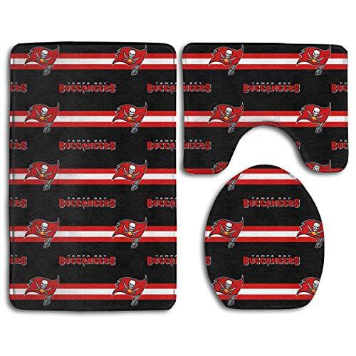 (zhong-LRS.guo !!! Custom Colorful Doormat American Football Team Tampa Bay Buccaneers Indoor Bathroom Anti-Skid Mats,3 Piece Non-Slip Bathroom Rugs,Non-Slip Mat Bath + Contour + Toilet Lid)