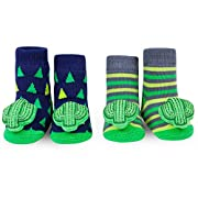 WADDLE Unisex Cactus Rattle Baby Socks Navy Blue Green Grey 0-12 Shower Gift