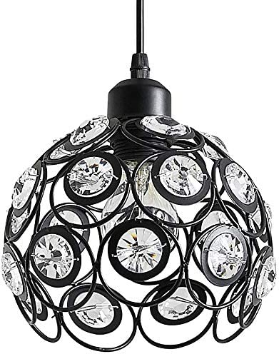 ZHU YAN Vintage Ball Black Metal Crystal Ceiling Pendant Light, Industrial Style Woven mesh Metal Lampshade Hanging Fixture Lighting with Adjustable Cord Length for Kitchen Island Dining Room Black