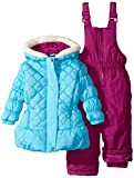 Pink Platinum Baby Girls' Quilted Jacket Snowsuit, Turquoise, 12 Months