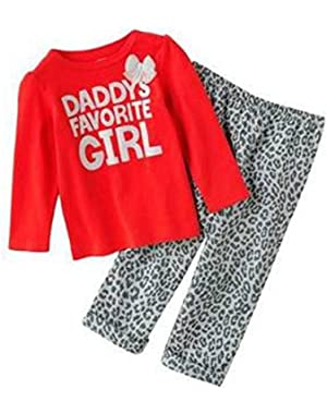 Carter Infant Toddler Girl Leopard Print Set Cheetah Pants Daddys Girl Shirt