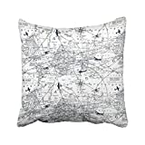 vintage aviation decor - Accrocn Throw Pillow Covers Vintage Simple Black And White World Aviation Map Print Pillowcases Polyester 18 x 18 Inch Cushion Decorative Pillowcase Square With Hidden Zipper Home Sofa