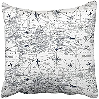 Accrocn Throw Pillow Covers Vintage Simple Black And White World Aviation Map Print Pillowcases Polyester 18 x 18 Inch Cushion Decorative Pillowcase Square With Hidden Zipper Home Sofa