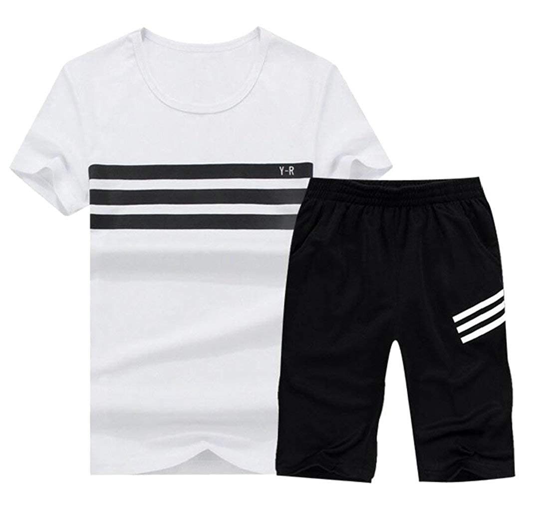 Elastic Waist Shorts Two Piece Sport Suit Alion Mens Summer Short Sleeve Polo Shirt