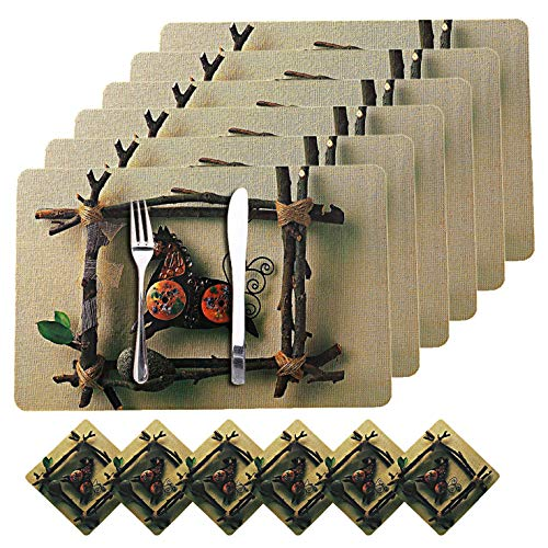 Kuber Industries Horse Design PVC 6 Piece Dining Table Placemat Set with Tea Coasters (Brown)-CTKTC032182 Price & Reviews