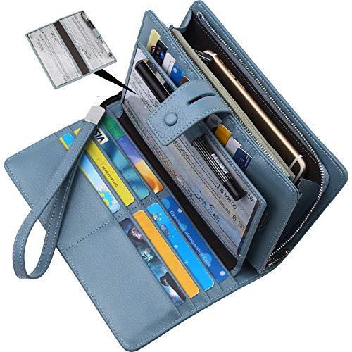 Lavemi Big Fat Rfid Blocking Leather Checkbook Credit Card Holder Wallets Clutch for Women with Wristlet Strap(Light Blue) ()